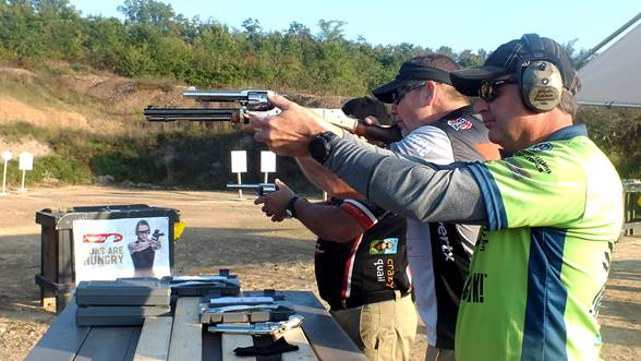 Dry firing before a stage at the NRA World Shooting Championship